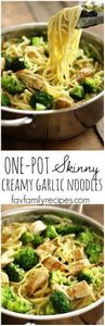 These one pot skinny creamy garlic - 300 Healthy Dinner Recipes - RecipePin.com