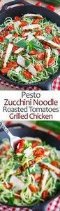 Pesto Zucchini Noodles with Roaste - 300 Healthy Dinner Recipes - RecipePin.com