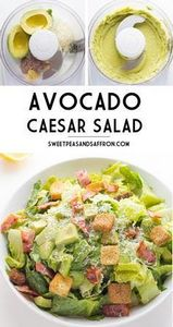 Avocado Caesar Salad- an egg-less  - 300 Healthy Dinner Recipes - RecipePin.com