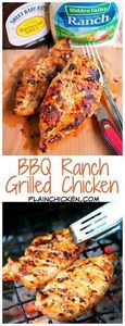 BBQ Ranch Grilled Chicken - only 3 - 300 Healthy Dinner Recipes - RecipePin.com