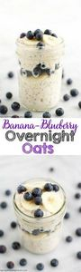 Banana-Blueberry Overnight Oats - 300 Healthy Dinner Recipes - RecipePin.com