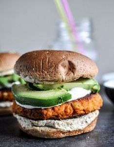 Smoky Sweet Potato Burgers with Ro - 300 Healthy Dinner Recipes - RecipePin.com