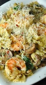Shrimp and Veggie Pesto Pasta Reci - 300 Healthy Dinner Recipes - RecipePin.com