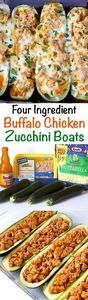 Buffalo Chicken Zucchini Boats - s - 300 Healthy Dinner Recipes - RecipePin.com
