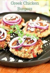 Greek Chicken Burgers - 300 Healthy Dinner Recipes - RecipePin.com