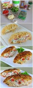 Panko Crusted Chicken Stuffed with - 300 Healthy Dinner Recipes - RecipePin.com