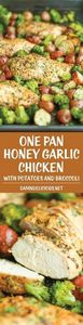 One Pan Honey Garlic Chicken and V - 300 Healthy Dinner Recipes - RecipePin.com