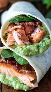 Salmon, Guacamole, and Bacon Wraps - 300 Healthy Dinner Recipes - RecipePin.com