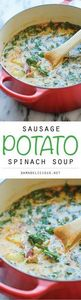 Sausage, Potato and Spinach Soup - - 250 Heart Healthy Recipes - RecipePin.com