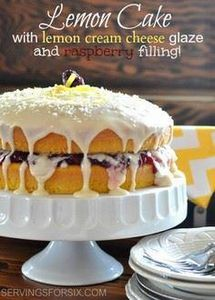 Lemon Raspberry Layered Cake via s - 250 Lemon Recipes - RecipePin.com