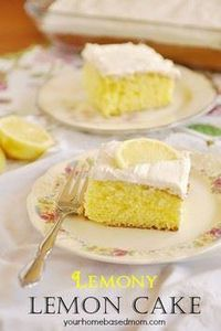 Lemony Lemon Cake @yourhomebasedmo - 250 Lemon Recipes - RecipePin.com