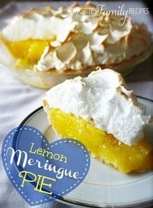 Lemon Meringue Pie from favfamilyr - 250 Lemon Recipes - RecipePin.com