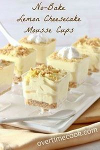 Lemon Cheesecake Mousse Cups - 250 Lemon Recipes - RecipePin.com