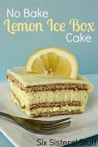 No Bake Lemon Ice Box Cake from Si - 250 Lemon Recipes - RecipePin.com