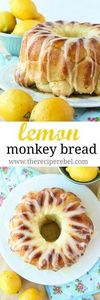 Glazed Lemon Monkey Bread - 250 Lemon Recipes - RecipePin.com
