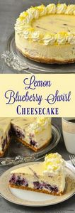 Lemon Blueberry Swirl Cheesecake - - 250 Lemon Recipes - RecipePin.com