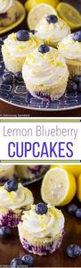Lemon Blueberry Cupcakes with Lemo - 250 Lemon Recipes - RecipePin.com