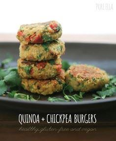 Quinoa + Chickpea Burgers : gluten - 380 Non-Dairy Recipes - RecipePin.com