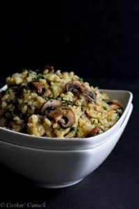 Toasted Brown Rice with Mushrooms  - 275 Rice Recipes - RecipePin.com