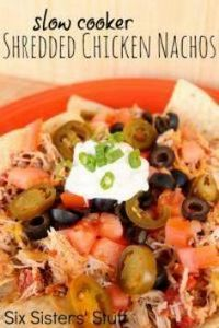 Slow Cooker Shredded Chicken Nacho - 300 Tailgating Recipes - RecipePin.com
