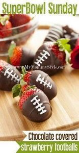 football-chocolate-covered-strawbe - 300 Tailgating Recipes - RecipePin.com