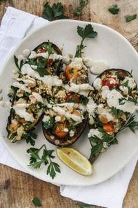 Chickpea stuffed eggplant with cou - 385 Veggie Swaps Recipes - RecipePin.com