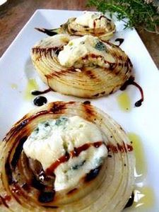 Thick slices of grilled onion- top - 385 Veggie Swaps Recipes - RecipePin.com
